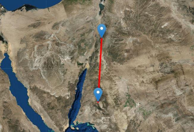 Джабал Макла (внизу) до Петры (вверху) составляет около 150 миль. Изображение получено с помощью Free Map Tools.