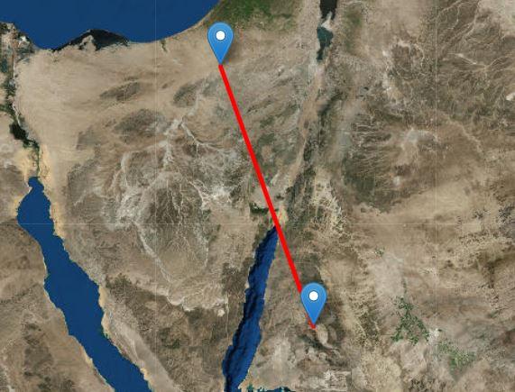 Как ворона летит из Джабаль Макла в Телль-эль-Кудейрат. Изображение получено с помощью Free Map Tools.