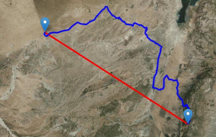 Традиционный Кадес-Варни (вверху слева) до Петры, Иордания (внизу справа) составляет около 120 км по прямой линии. Изображение получено с помощью Free Map Tools.